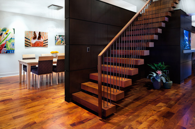 Large Trendy Wooden Floating Open And Mixed Material Railing Staircase  Photo In Austin