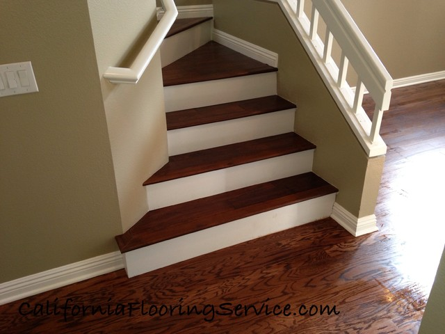Superieur Acacia Woodon Stairs In Rancho Santa Margarita With White Risers