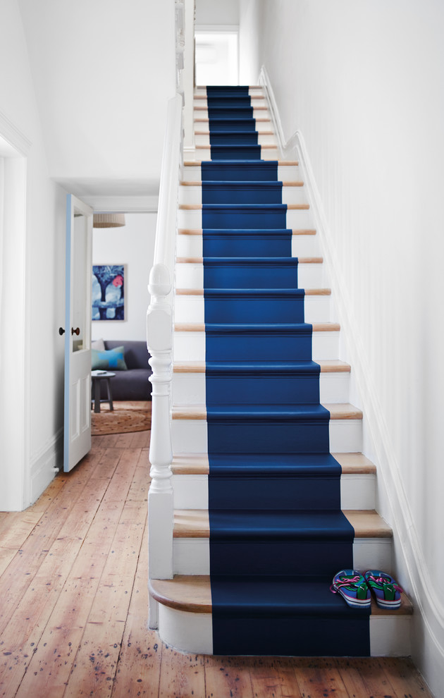 Mid-sized trendy painted straight staircase photo in Melbourne