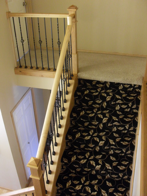 Alder handrail & stair posts traditional-staircase