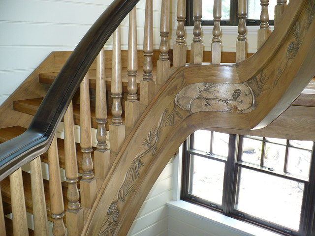 All Wood Stair With Carved Stringers And Fascia