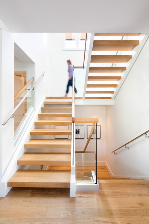 modern staircase floating treads glass