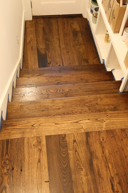 American Chestnut With Provincial Stain Contemporary Staircase