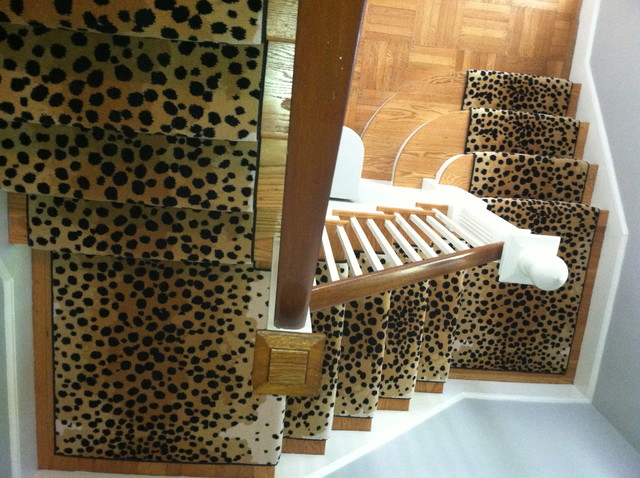 animal print stair runner traditional staircase. Black Bedroom Furniture Sets. Home Design Ideas