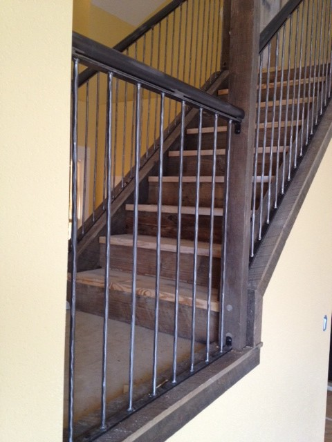 Antique Reclaimed Wood And Steel Railings Industrial Staircase Other Metro By