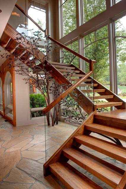 Apple Farm Rustic Staircase Atlanta By Moon Bros Inc