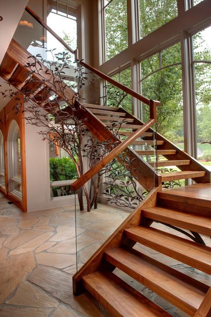 Apple Farm Rustic Staircase Atlanta By Moon Bros Inc