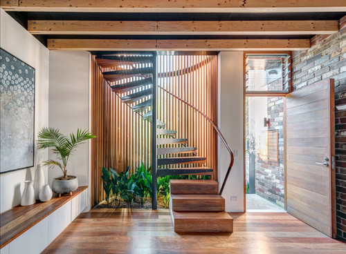Warm hardwoods and biophilic design
