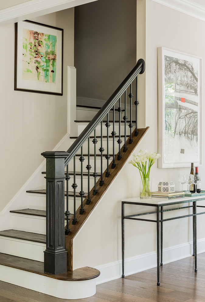 Mid-sized elegant wooden l-shaped mixed material railing staircase photo in Boston