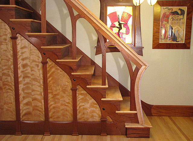 Art Nouveau Mahogany Staircase with Maple Treads, Ebony Buttons