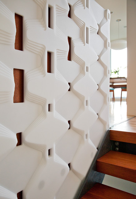 Wall Design Build Inc : Art wall at entry stairs modern staircase