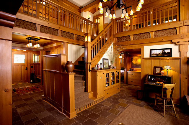 arts crafts cottage craftsman staircase