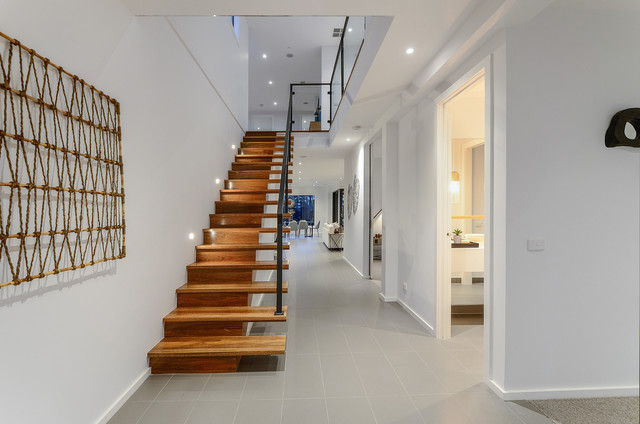 Lighting For Staircase. Design Ideas For A Mid Sized Contemporary Wood  Straight Staircase In