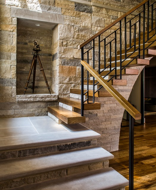 Example of a cottage wooden floating mixed material railing staircase design in Atlanta