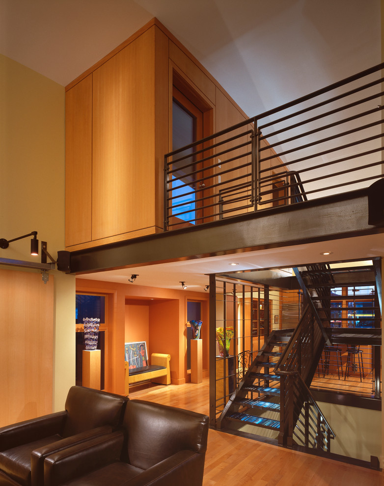 Inspiration for a contemporary open staircase remodel in Seattle