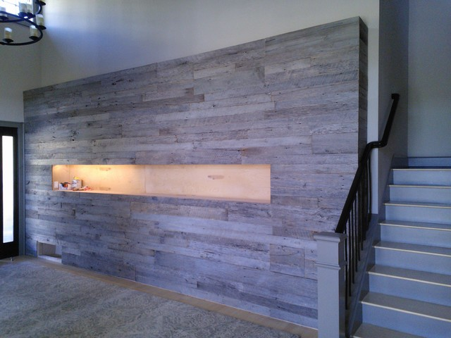 Barn Wood Accent Walls Contemporary Staircase