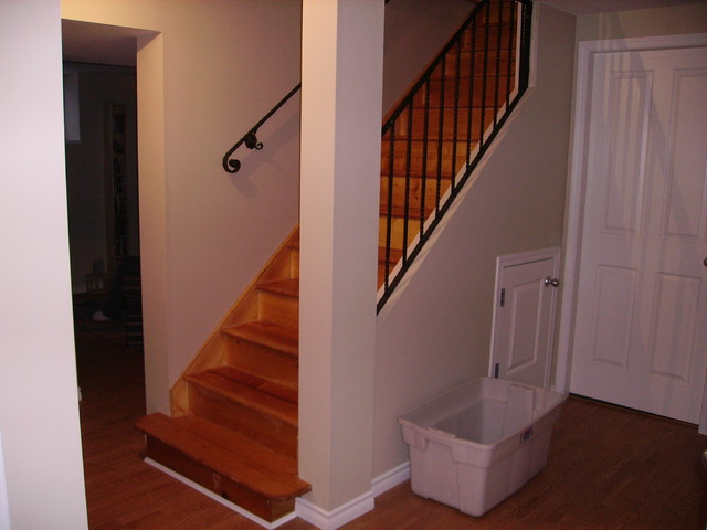 Basement after addition traditional-staircase