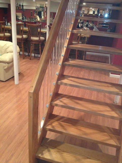 BASEMENT IN WOODMERE, NY contemporary-staircase