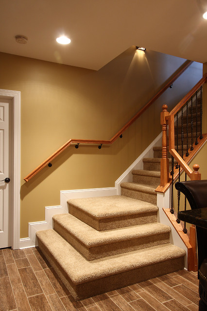 Basement stairs traditional staircase dc metro by nvs kitchen and bath for Home designer stairs with landing