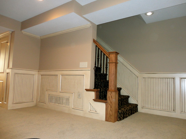 Basement Remodel Kansas City basement stairway with beadboard - traditional - staircase