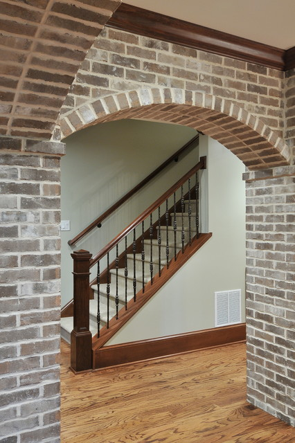 Basement With Brick Arches Traditional Staircase