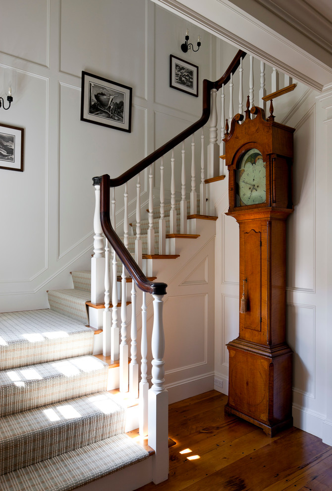 Inspiration for a coastal wooden staircase remodel in Boston