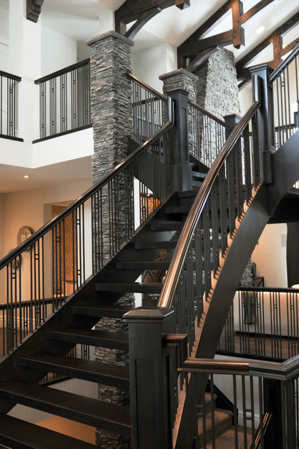 Bearspaw Custom Build contemporary-staircase