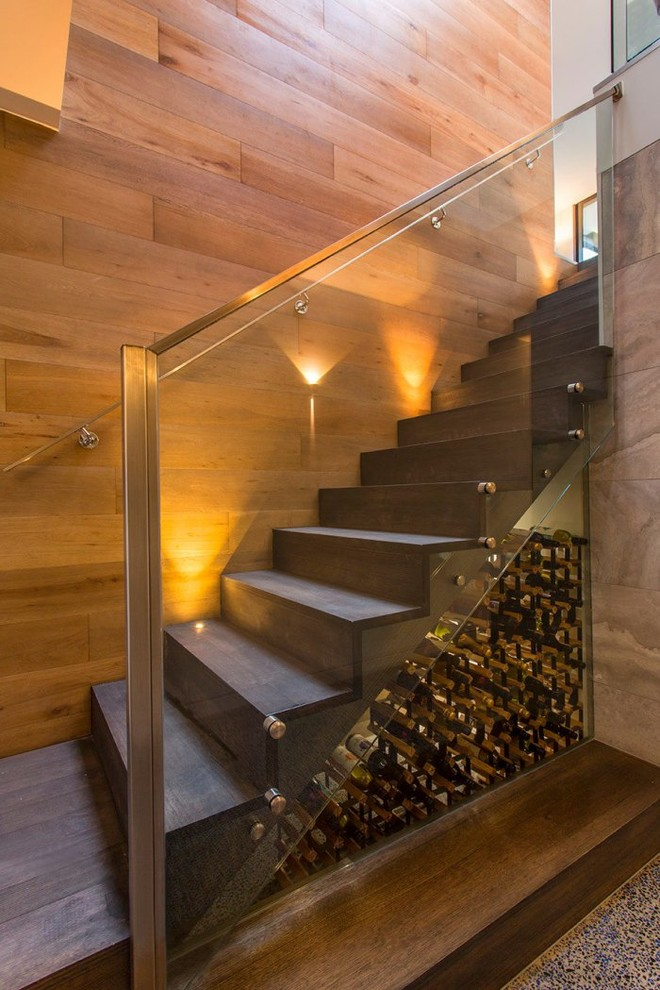 Example of a mid-sized trendy wooden straight staircase design in Melbourne with wooden risers