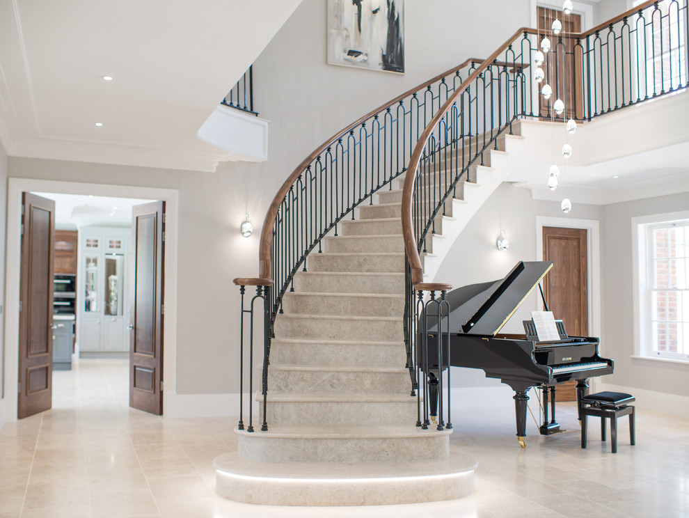 Example of a transitional staircase design in Surrey