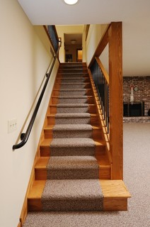 Before And After Lower Level Stairs Remodel Traditional