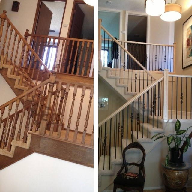 Before And After Traditional Staircase Calgary By