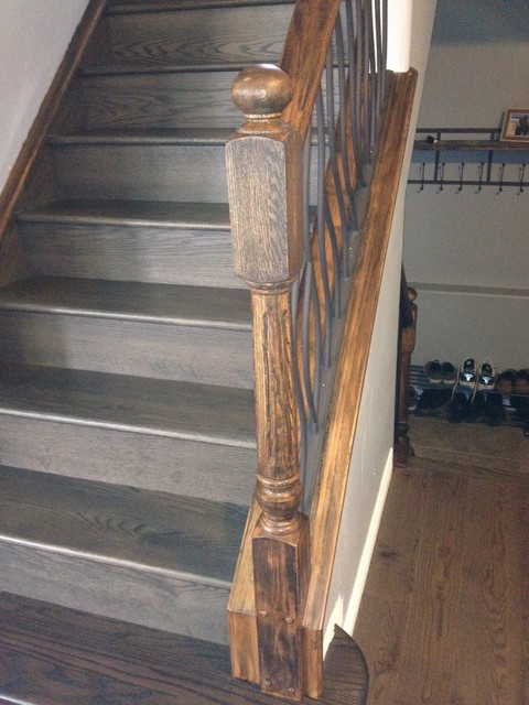 BENT Iron Design Interior Railing With A Distressed Wood