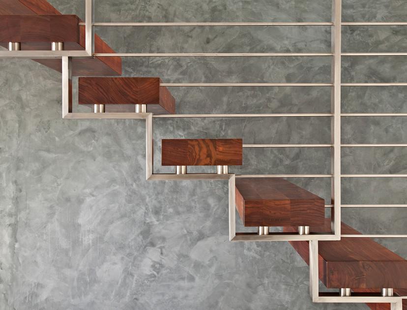 Staircase - contemporary wooden open staircase idea in San Francisco