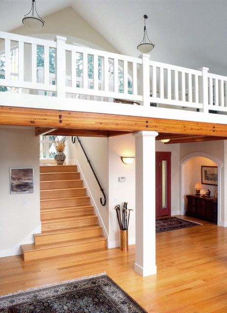 Entry and stairs to loft. traditional-staircase