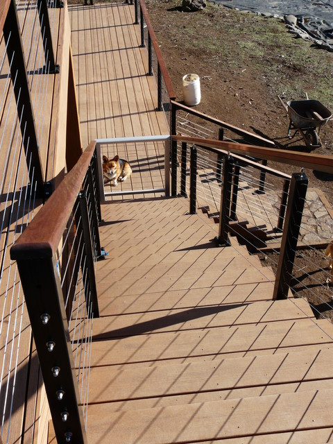 Black aluminum cable railing systems contemporary