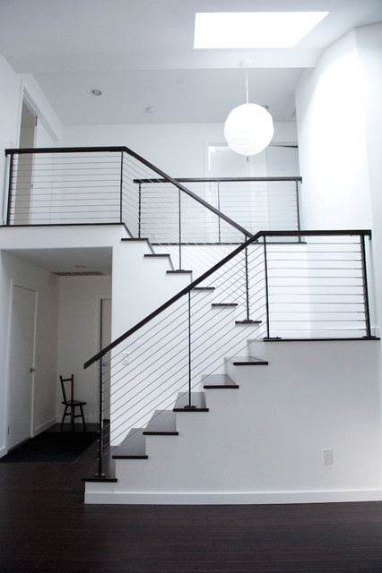 black and white house contemporary-staircase