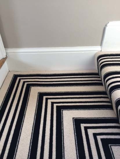 Black & White Stripe Carpet to Stairs