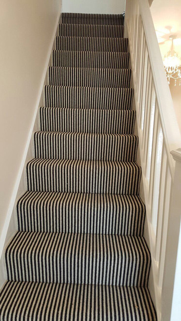 Black & White Striped Carpet to Stairs