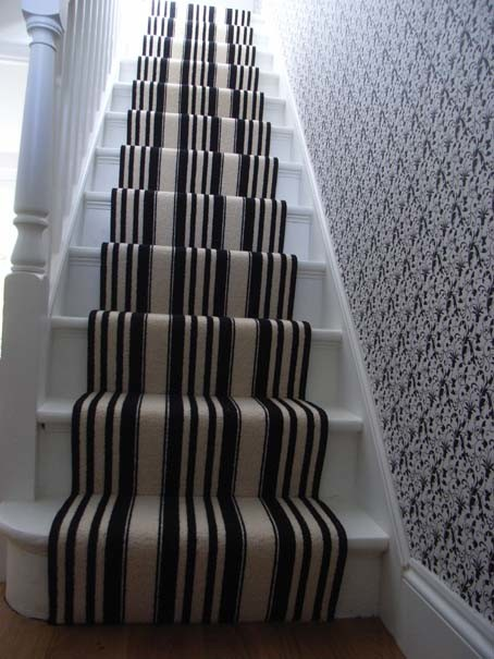 Black And White Striped Stair Carpet Runner Contemporary Staircase