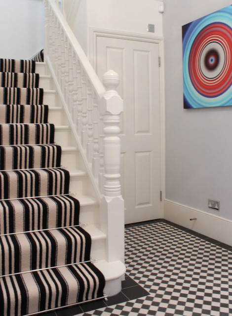 white striped stair carpet runner