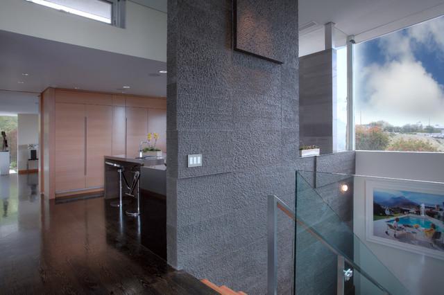 Black Granite | Striated modern-staircase