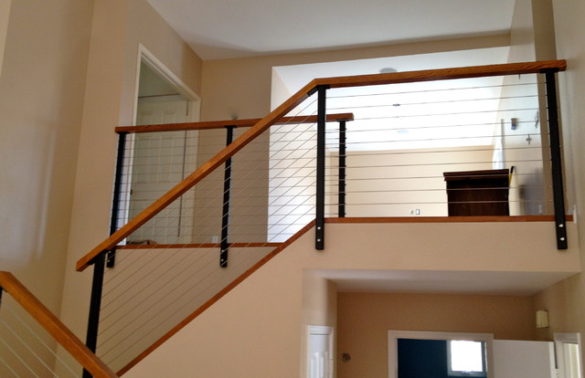 Black Railing Posts with Stainless Cable - Modern - other metro - by ...