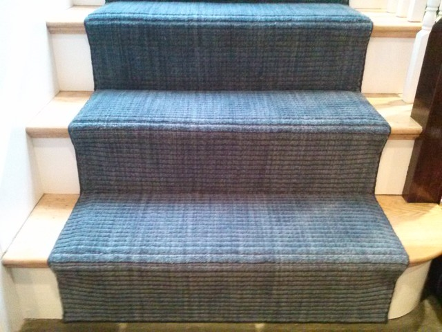 Blue Wool Strie Carpet On Stairs