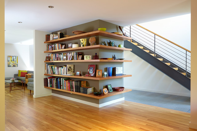 Bookcase, Stairs U0026 Living Beyond Contemporary Staircase