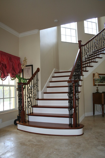 Box Newel U0026 Volute Hybrid Stair Project. Gillette Residence. Melbourne  Beach Fl Mediterranean