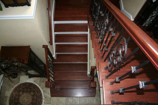 Box Newel Theme Stair Project. Mitvalsky Residence. Merritt Island Fl mediterranean-staircase
