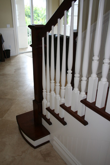 Box Newel Theme Stair Project. St Germain Residence. Melbourne Beach Fl traditional-staircase