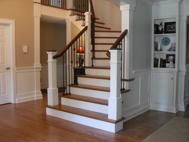 Box Newels amp Wought Iron Traditional Staircase