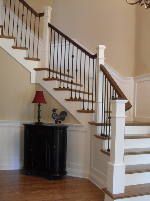 Box newels & Wought iron - Traditional - Staircase - portland - by Portland Stair Company