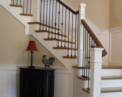 Box newels &  Wought iron traditional staircase